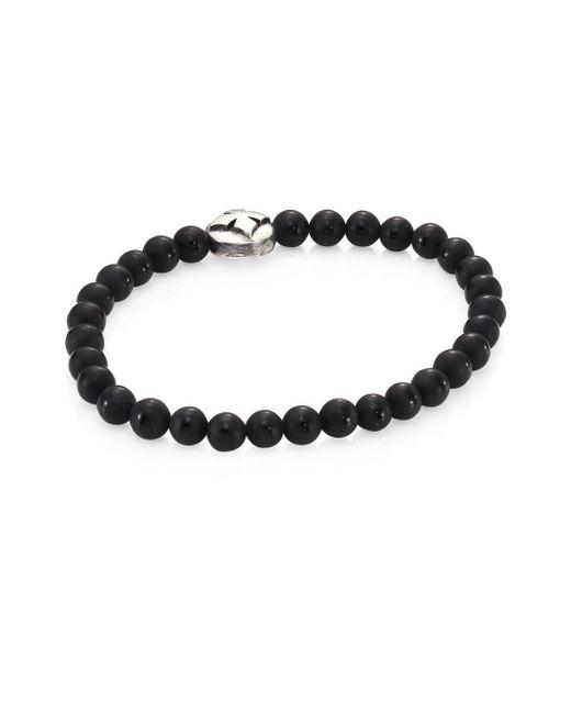 King Baby Studio - Black Onyx Beads & Sterling Silver Bracelet for Men - Lyst