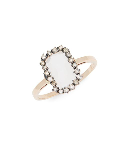 Suzanne Kalan - Metallic White Moonstone, Champagne Diamonds And 14k Rose Gold Ring - Lyst