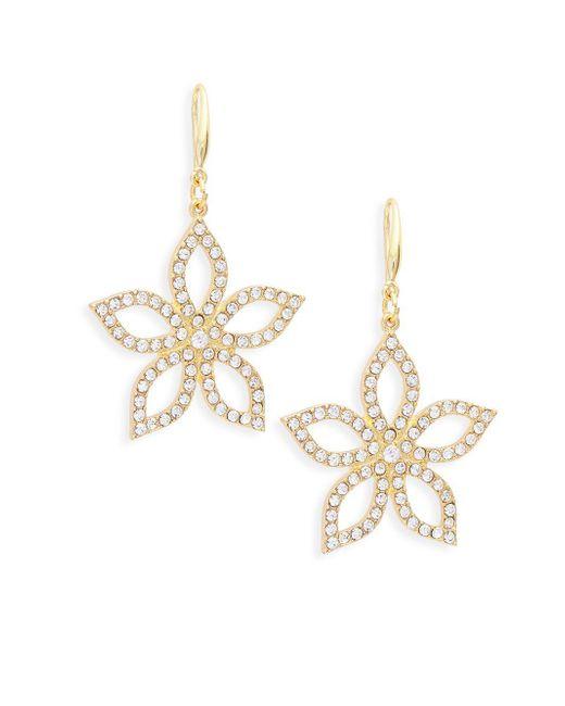 Ava & Aiden - Metallic Goldtone Crystal Flower Drop Earrings - Lyst