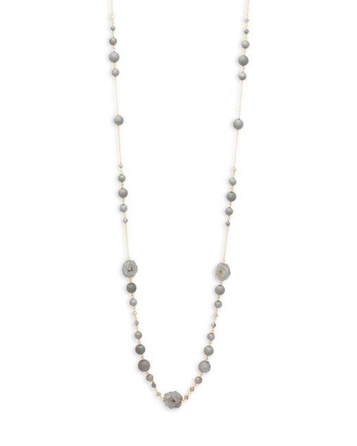 Chan Luu - Metallic Silver Druzy Stone, Matte Silver Agate & Mystic Labradorite Necklace - Lyst