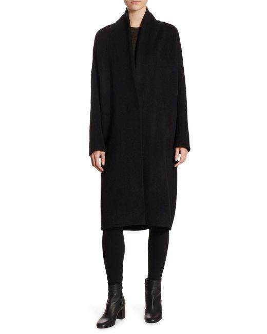 Vince - Black Wool-blend V-neck Coat - Lyst