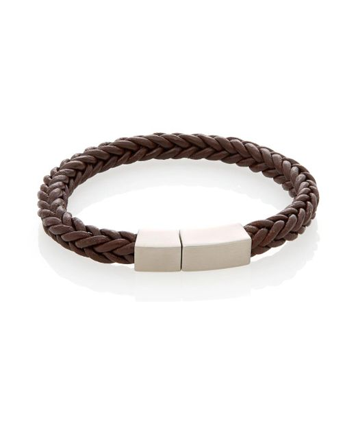 Lotus - Brown Leather & Stainless Steel Braided Bracelet - Lyst