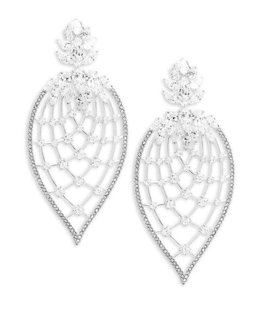 Adriana Orsini - Metallic Pavé Petal Drop Earrings - Lyst