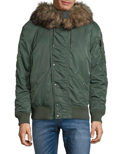 Calvin Klein - Green Faux Fur-trimmed Jacket for Men - Lyst