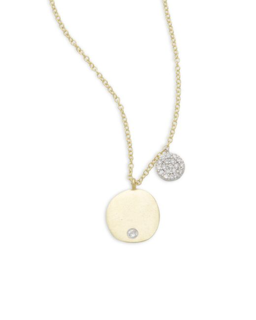 Meira T - Metallic Diamond & 14k Yellow Gold Pendant Necklace - Lyst