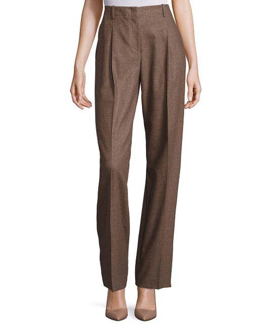 Lafayette 148 New York - Brown Rivington Finite Italian Flannel Wide-leg Pants - Lyst