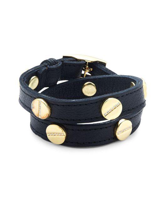 CC SKYE | Black Crystal & Leather Wrap Bracelet | Lyst