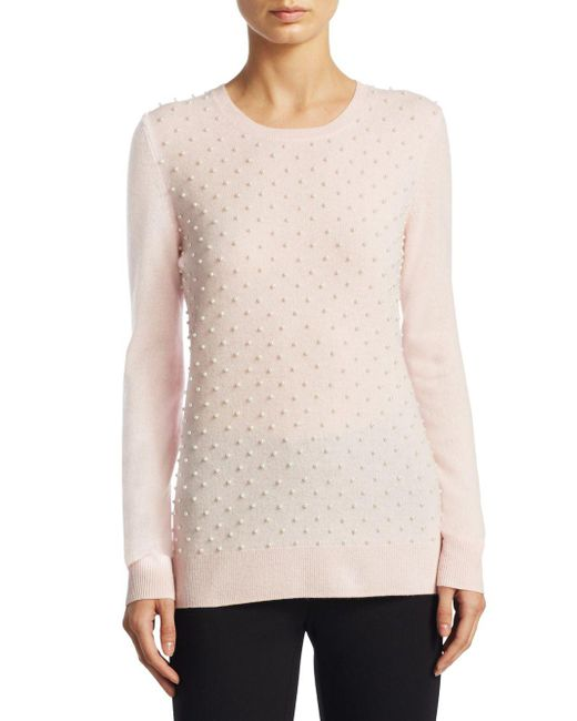Saks Fifth Avenue - Pink Cashmere Pearl Embellished Crew Neck Sweater - Lyst