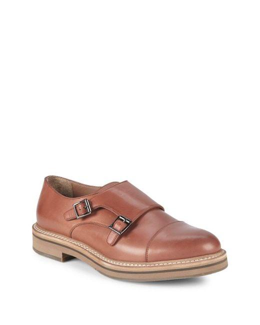 Brunello Cucinelli - Brown Double Monk-strap Leather Cap Toe Oxfords for Men - Lyst