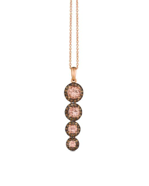 Le Vian - Metallic Chocolatier® Peach Morganitetm & Chocolate Diamonds® Tiered Pendant Necklace - Lyst
