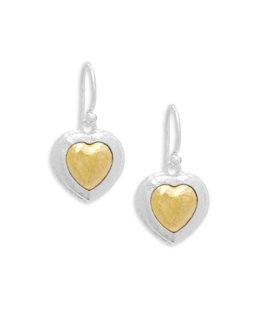 Gurhan - Metallic Romance Sterling Silver Heart Dangle Earrings - Lyst