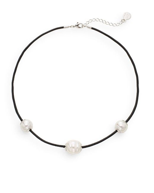 Majorica - Black 14mm White Round Pearl & Leather Necklace - Lyst