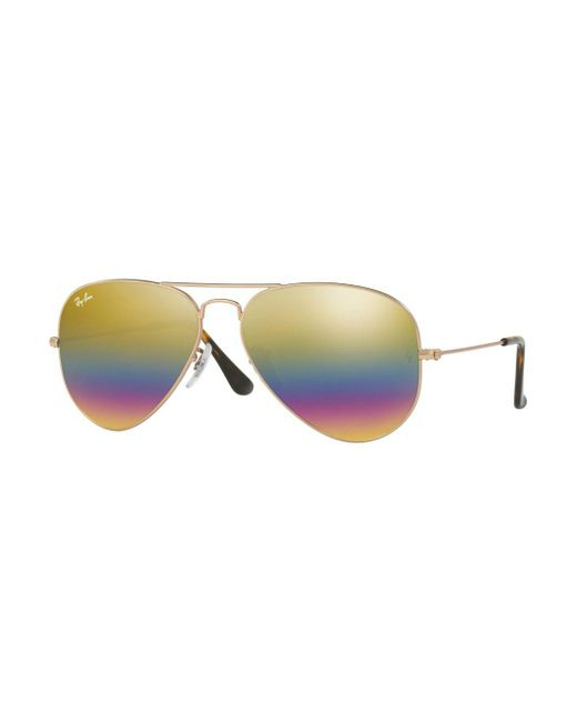 Ray-Ban - Yellow 14mm Flash Aviator Sunglasses - Lyst