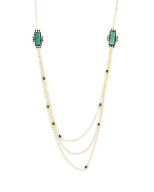 Freida Rothman - Emerald Decor Cubic Zirconia, Green Agate & 14k Gold-plated Sterling Silver Layer Necklace - Lyst