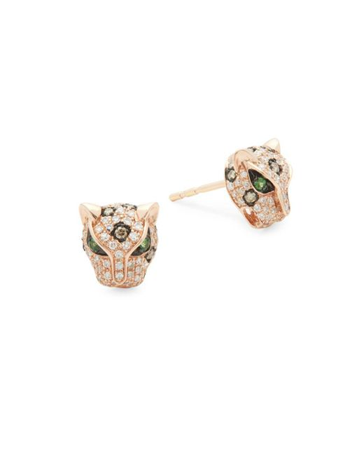 Effy - Metallic Diamond, Tsavorite & 14k Rose Gold Stud Earrings - Lyst