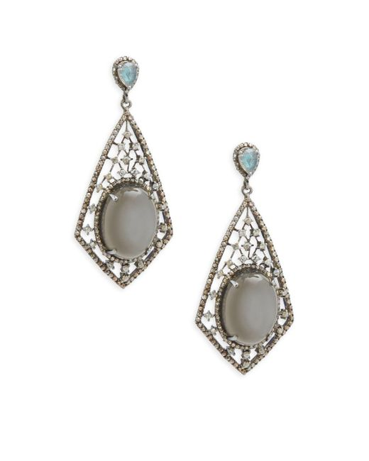Bavna | Metallic Grey Moonstone, Black Spinel & Sterling Silver Earrings | Lyst