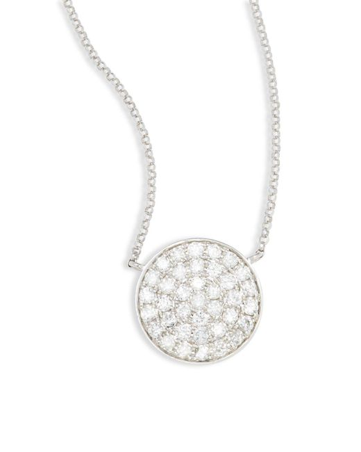 Effy - Metallic Diamond & 14k White Gold Circle Pendant Necklace - Lyst