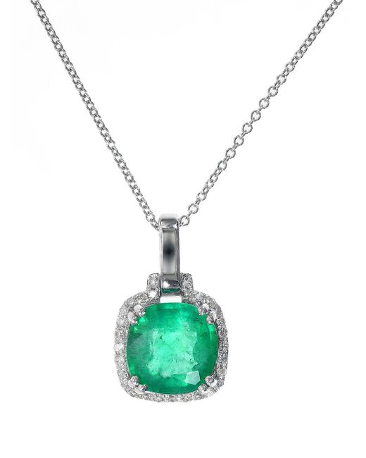 Effy - Green Emerald Diamond And 14k White Gold Pendant Necklace - Lyst