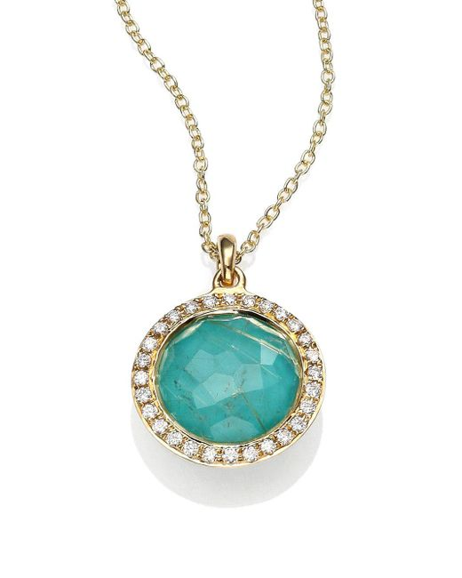 Ippolita - Metallic Lollipop Turquoise, Rutilated Quartz, Diamond & 18k Yellow Gold Mini Pendant Necklace - Lyst