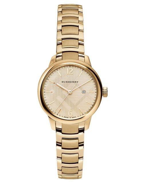 Burberry - Metallic Goldtone Stainless Steel Check Etched Bracelet Watch - Lyst