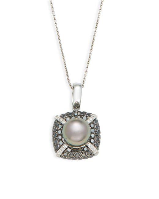 Effy - Metallic 6-8mm Round Freshwater Pearl, Diamond & 14k White Gold Pendant Necklace - Lyst