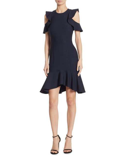 Cinq À Sept - Blue Micah Ruffle Short-sleeve Sheath Dress - Lyst