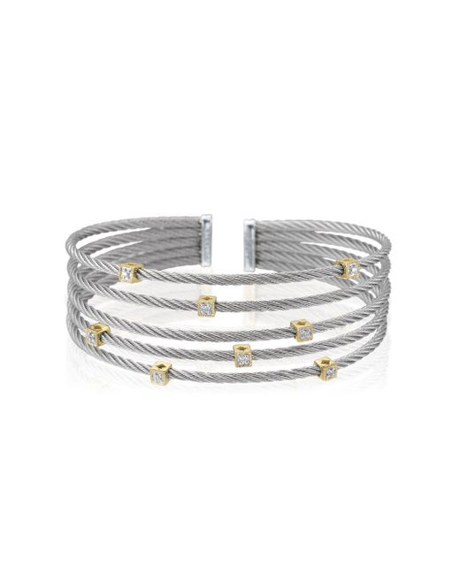 Alor - Metallic Classique Diamond, Stainless Steel And 18k Gold Bracelet - Lyst