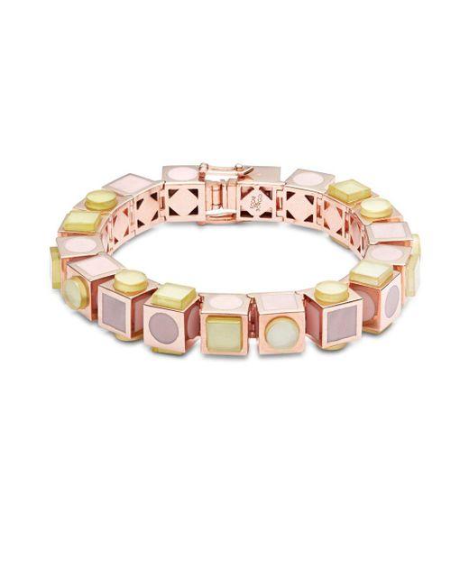 Eddie Borgo - Multicolor 12k Rose Gold-plated Mosaic Cube Bracelet - Lyst