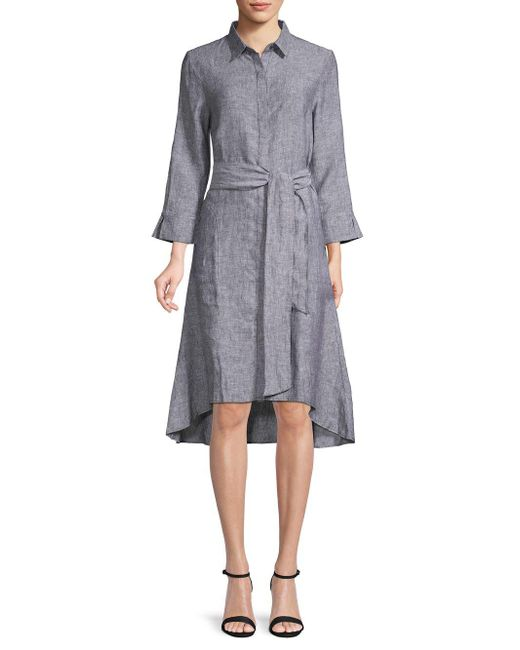9cac8da43e0c33 Lyst - Saks Fifth Avenue High-low Linen Shirtdress in Black