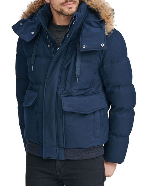 Marc New York - Blue Bohlen Coyote Fur-trimmed Hooded Bomber Jacket for Men - Lyst