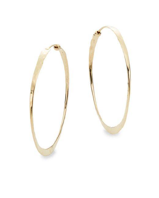Saks Fifth Avenue - Metallic 14k Yellow Gold Hammered Hoop Earrings - Lyst
