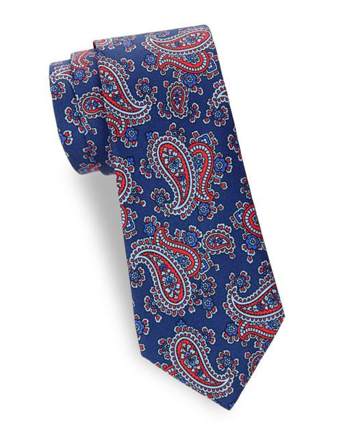 Saks Fifth Avenue - Red Paisley Silk Tie for Men - Lyst