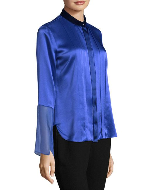 4589c8255e70a ... Elie Tahari - Blue Izarra Pleated Silk Blouse - Lyst
