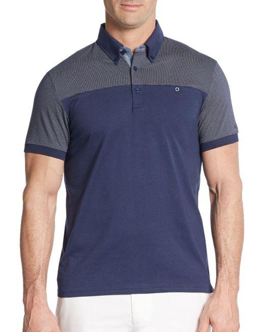Ben Sherman | Blue Pindot-panel Cotton Polo Shirt for Men | Lyst