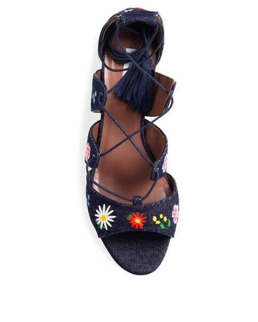 b95f49c9fae2 ... Tabitha Simmons - Blue Isadora Flower-embroidered Denim Lace-up Sandals  - Lyst ...