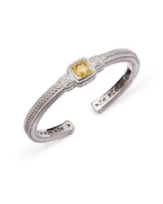 Judith Ripka - Metallic White Sapphire & Yellow Cubic Zirconia Cuff Bracelet - Lyst