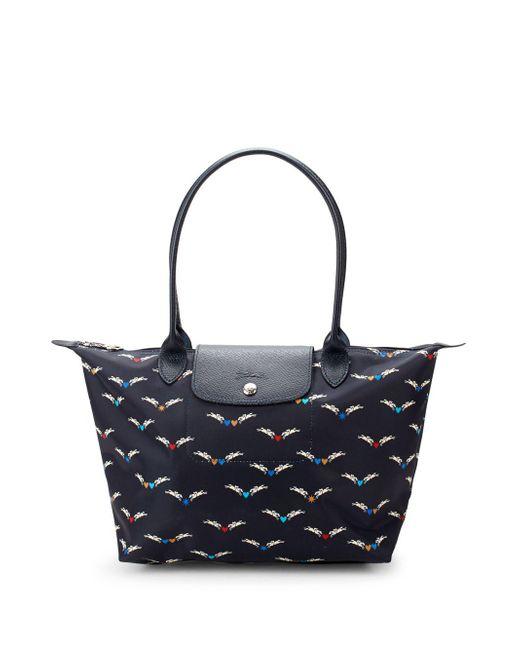 Longchamp - Blue Le Pliage Chevaux Ailes Shoulder Tote Bag - Lyst