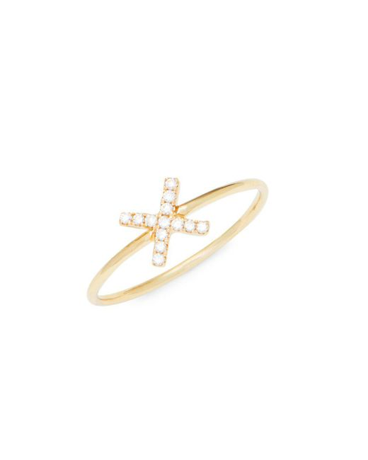 Suzanne Kalan - Metallic Diamond And 14k Yellow Gold X Ring - Lyst
