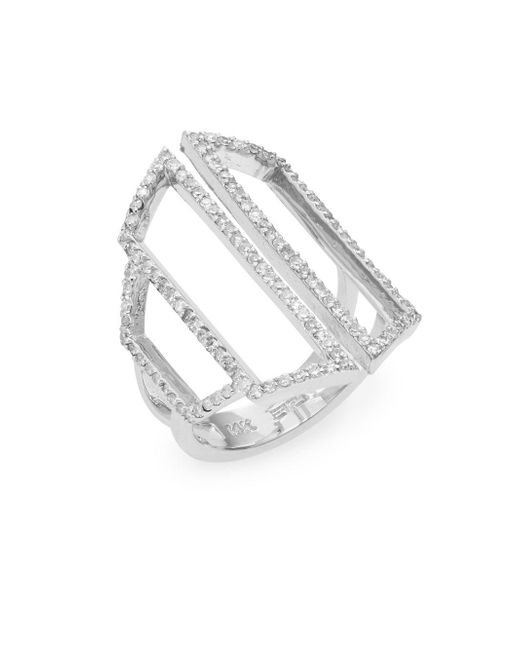 Effy - Metallic Diamond Pavé & 14k White Gold Geometric Cutout Ring - Lyst