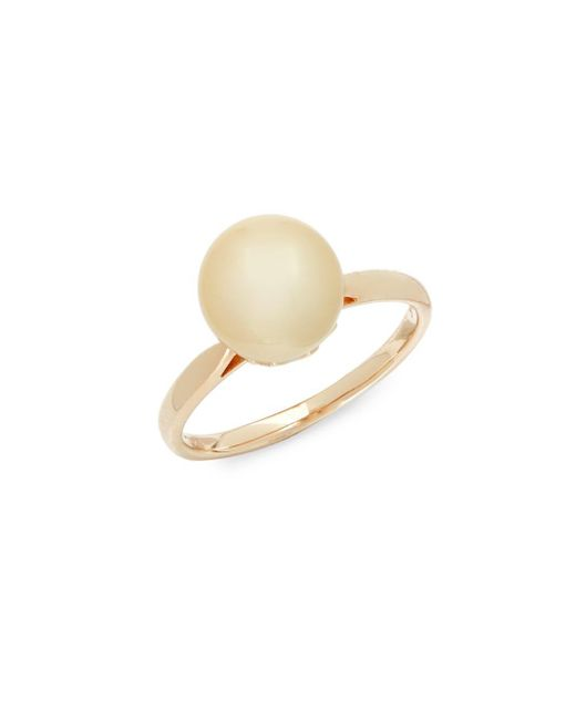 Tara Pearls - Metallic 10mm Gold Pearl And 14k Yellow Gold Ring - Lyst