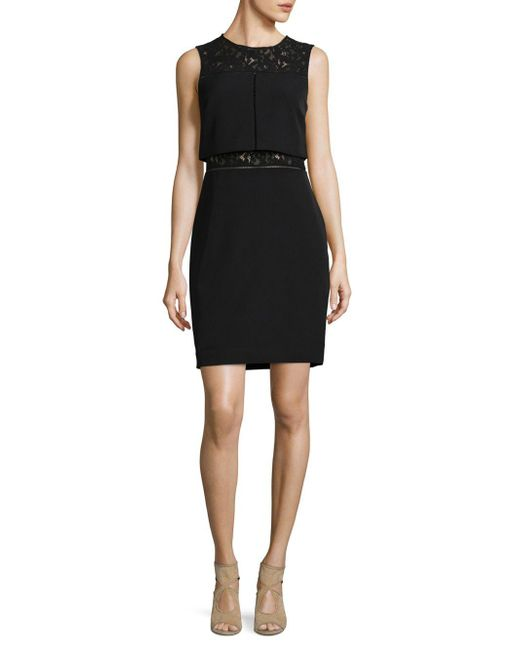 Adrianna Papell - Black Lace-trimmed Popover Dress - Lyst