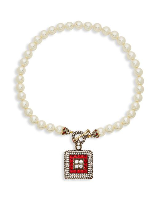 Heidi Daus - White Square Pendant Toggle Necklace - Lyst