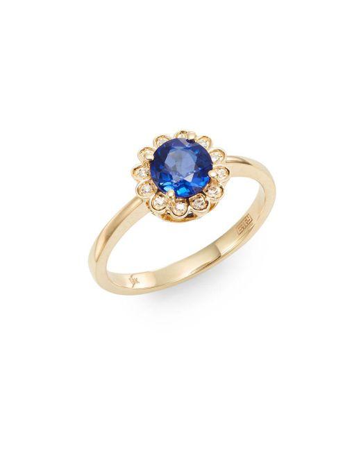 Effy - Blue Final Call Sapphire, Diamond & 14k Yellow Gold Ring - Lyst