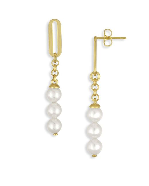 Majorica - Metallic 6mm Organic Organic Pearl Linear Drop Earrings - Lyst