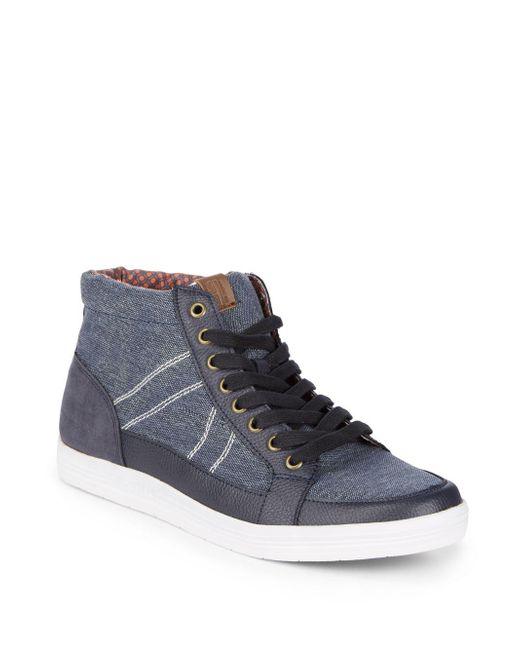 Ben Sherman - Blue Printed Mid-top Sneakers for Men - Lyst