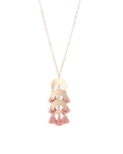 Panacea - Metallic Tassel Linear Pendant Necklace - Lyst