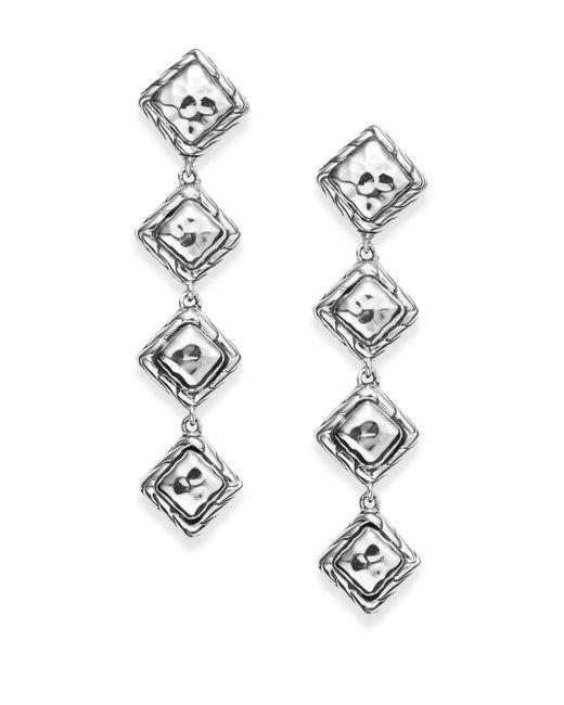 John Hardy | Metallic Four-dangle Sterling Silver Linear Drop Earrings | Lyst