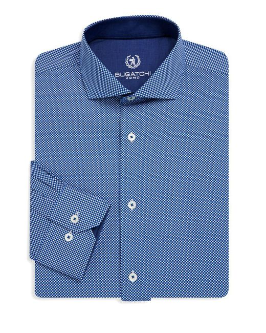 Bugatchi - Blue Textured Cotton Dress Shirt for Men - Lyst
