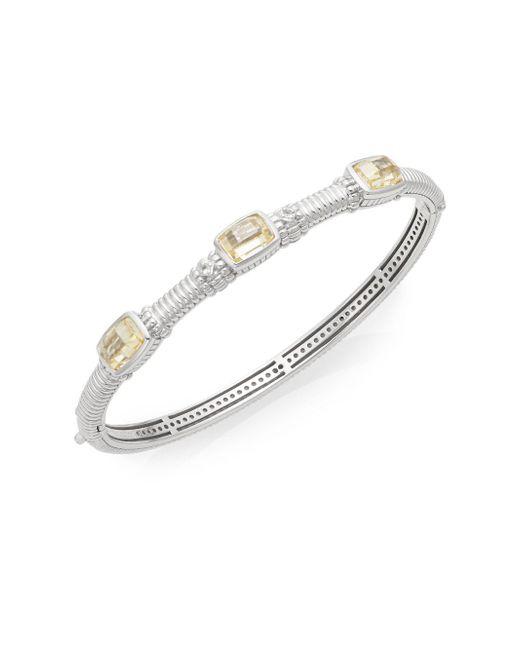Judith Ripka - Metallic White Sapphire & Sterling Silver Tri-stone Bangle Bracelet - Lyst