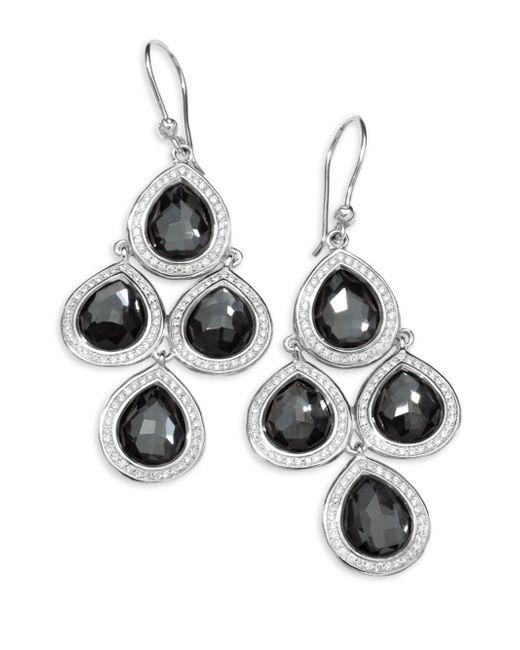 Ippolita - Metallic Diamond, Hematite And Sterling Silver Doublet Drop Earrings - Lyst